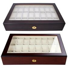 24 Wood Watch Case Top Glass Jewelry Display Box Mens Collector Valentine's