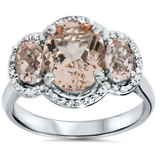 Huge 3.50 Cttw 3 Stone Oval Morganite & Diamond Halo Ring 14K White Gold
