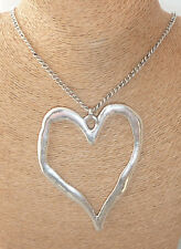 "Statement Large Heart Pendant on long 30"" Chain Necklace in Gold or Silver Tone"