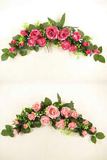 Artificial Silk Flowers Rose Swag / Slim Table Centrepiece for Wedding Venue/Car
