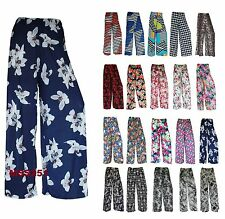 NEW FLORAL PRINT PALAZZO TROUSERS LADIES WOMENS SUMMER WIDE LEG PANTS PLUS SIZES