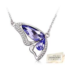 New Silver Crystal Butterfly Pendant Necklace Swarovski Crystal Elements + Box