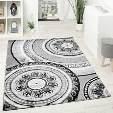 Living Room Designer Rug Glitter Yarn Grey Anthracite Stylish Carpet Hall Runner
