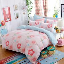Single Double Queen King Size Bed Set Pillowcase Quilt Duvet Cover Pink Flower O