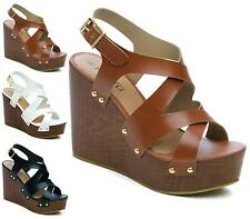 WOMENS HIGH WEDGE HEEL ANKLE BUCKLE STRAPPY LADIES GLADIATOR SANDALS SHOES