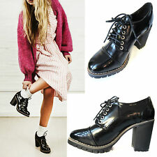 NEW FAUX PATENT LEATHER MID/HIGH BLOCK CHUNKY HEEL ANKLE BOOTS, SIZE 3 - 8