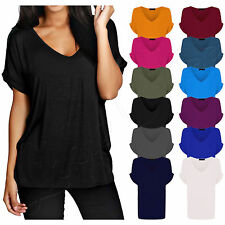 Womens Baggy Loose Fit Turn up Batwing Sleeve Ladies V Neck Oversized TShirt Top