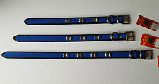 Blue & Black Leather Dog Collar Pet Collar with Bone Shaped Studs/Design 3 sizes