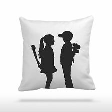 "Banksy Boy Meets Girl 16.5"" (42cm) Silk or Velvet Pillow Cushion and Cover"