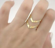 Adjustable double V, Triangle ring. Midi, Finger, thumb 18KGold Rose Gold Silver