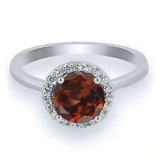 1.70 Ct Round Red Garnet 925 Sterling Silver Ring