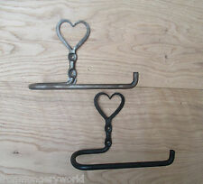 HAND-FORGED BLACKSMITH WROUGHT IRON HEART SHAKER STYLE TOILET ROLL HOLDER