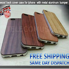 iPhone Wooden Back Case Cover with Metal Frame bumper for Apple iPhone 5 6 6S