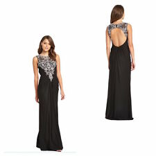 Womens FOREVER UNIQUE Beaded Maxi Dress Black low Cut out back Formal Occasions