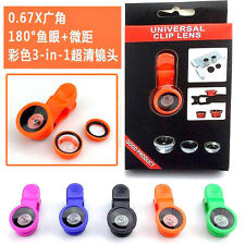 Universal 3in1 Clip Fish Eye Lens Wide Angle Macro Mobile Phone Lens Smart Phone
