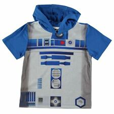 Boys Official Licensed Star Wars R2 D2 Hooded T Shirt Top