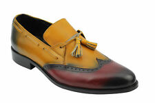 New Mens Real Leather Tassel Loafers 2 Tone Tan Wine Smart Vintage Slip on Shoes