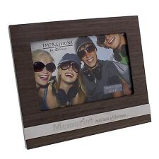 "Personalised Wooden MEMORIES 6"" x 4"" Photo Frame with Metal plaque FW438MEM"