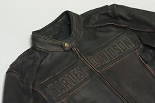 Harley Davidson Mens ROADWAY Distress Brown Leather Jacket L T XL 3XL 98002-11VM