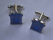 Mens Pair of Novelty Blue Tardis Doctor Who Cufflinks UK Seller