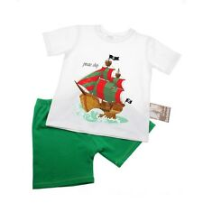 Boys Cotton Shorts and Short Sleeve T-Shirt Set - Pirate Ship age 1-4 years