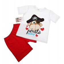 Boys Cotton Shorts and Short Sleeve T-Shirt Set - Pirate Monkey Age 1-4 years