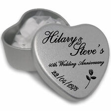 Personalised Wedding Anniversary Silver heart Shaped Favours with Mints