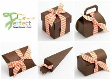 PACK 10 Luxury DIY Wedding Party Chocolate Favour Gift Boxes - BROWN SILK