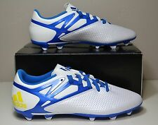 NEW IN BOX MENS ADIDAS MESSI 15.3 FG/AG WHITE BLUE SOCCER CLEATS SHOES SIZE