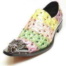 FI-6909 Multi Color Ostrich Fiesso Pointed Gold Metal Tip Slip on