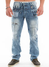 Herren Jeanshose Clubwear Denim Hose Straight-Fit Vintage Blue Jeans Stretch Neu