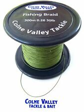 fishing  braid  30lb  slow sinking  300-1000m olive green colne valley tackle