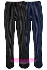LADIES PINSTRIPE WORK CARER STRETCH FINE RIBBED BOOTLEG TROUSERS 8-26 2 COLOURS.