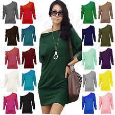 New Womens Off Shoulder Long Sleeve Batwing Ladies Plain Stretch Top Dress