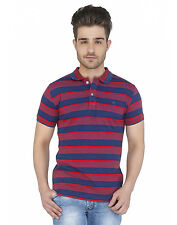 Paani Puri Clothing Striped Red Cotton Blended Men's T-Shirt _ 259