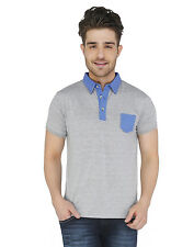 Paani Puri Clothing Solid Grey Cotton Blended Men's T-Shirt _ 222