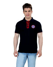 Paani Puri Clothing Embroidered Navy Blue Cotton Blended Men T-Shirt _ MROTE207