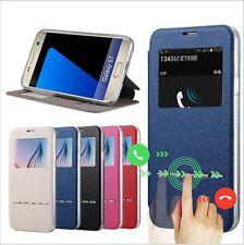 New Front Window View Flip PU Leather Smart Case For Samsung Galaxy S7 / S7 Edge