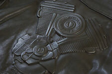 Harley Davidson Men's Vintage Embossed V-Twin Biker Black Leather Jacket M RARE