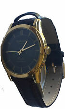 Unisex Gold Black Leather Strap Watch Analog Quartz Black Dial