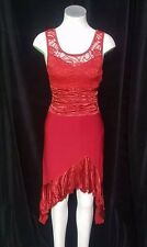 Ladies Clothes Ajoy Evening Red Lace Assymetrical Dress Size 8 Gothic Emo Gypsy