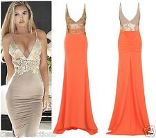 CELEB SEXY CORAL GOLD SEQUIN BACKLESS SLINKY MAXI FISHTAIL PARTY PROM DRESS 6-16