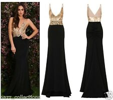 CELEB SEXY BLACK GOLD SEQUIN BACKLESS SLINKY MAXI FISHTAIL PARTY PROM DRESS 8-16