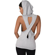 Fashion Hooded Pocket Design Backless Back Criss Cross Hoodie Tank Top for Women