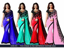 Beautiful Flower Saree Georgette Sari Bollywood New Desiner Saree Nice Blouse