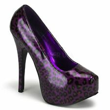 Bordello by Pleaser TEEZE-37 Glitter With Concealed Platform Purple Cheetah