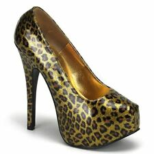Bordello by Pleaser TEEZE-37 Glitter With Concealed Platform Gold Cheetah
