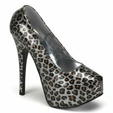 Bordello by Pleaser TEEZE-37 Glitter With Concealed Platform Silver Cheetah