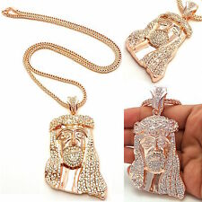 MENS ICED OUT 14K ROSE GOLD PLATED JESUS PENDANT ,SILVER,FRANCO CHAIN NECKLACE