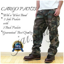 Mens Camo Cargo Capri with Side Pockets Army Style Khaki Shorts (Elastic Band)